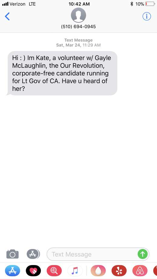Screenshots of text messages recently sent from various political campaigns. Photo: Alyssa Pereira/SFGATE