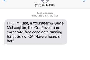 Screenshots of text messages recently sent from various political campaigns.