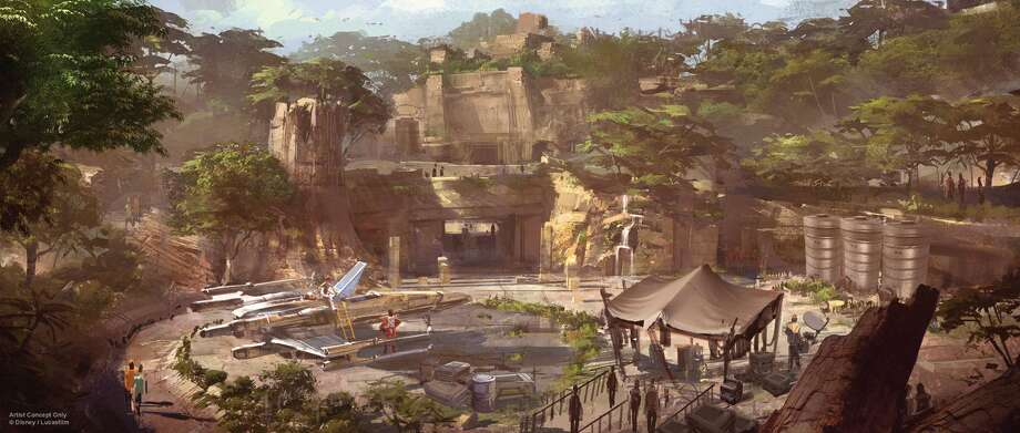 Star Wars-themed lands will be coming to Disneyland park in Anaheim, Calif., and Disney's Hollywood Studios in Orlando, Fla., transporting guests to a never-before-seen planet, a remote trading port and one of the last stops before wild space where Star Wars characters and their stories come to life. Inside these authentic lands, guests will be able to step aboard The Millennium Falcon and actually pilot the fastest ship in the galaxy, steering the vessel through space, firing the laser cannons, in complete control of the experience. And with the arrival of the First Order to the planet, guests will find themselves in the middle of a tense battle between stormtroopers and Resistance fighters. (Disney Parks) Photo: Disney Parks