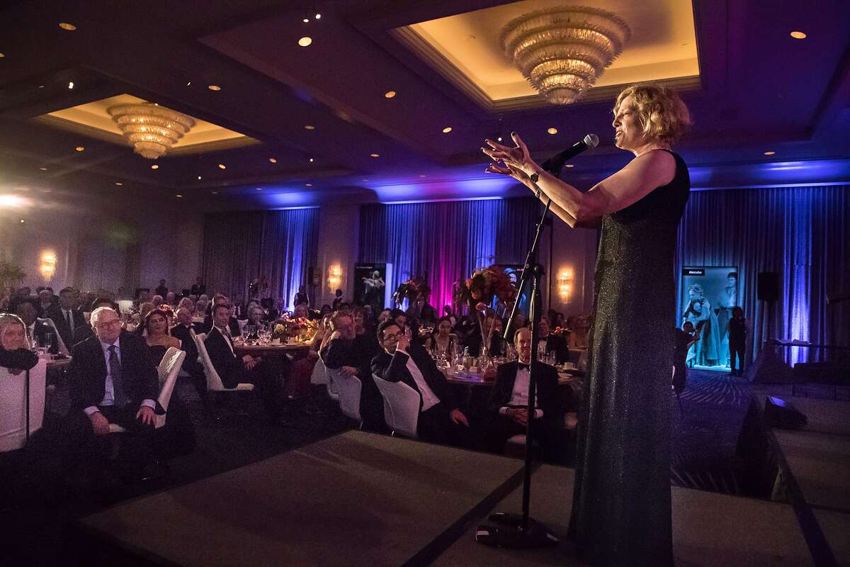 Carey Perloff on stage during the ACT gala honoring her who is retiring after 25 years as artistic director on Saturday, April 7, 2018 in San Francisco, CA.