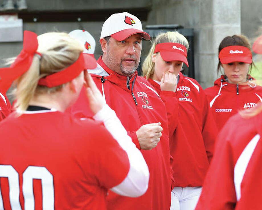 Alton coach Dan Carter's Redbirds committed six errors in Monday's 11-8 Southwestern Conference home loss to O'Fallon. Photo: Telegraph File Photo