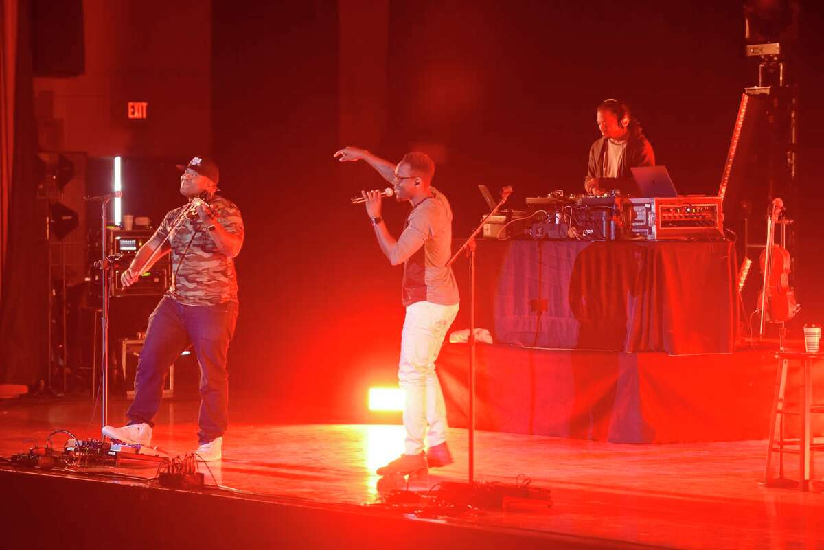 Members of Black Violin perform at Saratoga Springs High School on Monday, April 9, 2018, in Saratoga Springs, N.Y. The free concert was sponsored by Saratoga Performing Arts Center. The musical group will perform at the ?