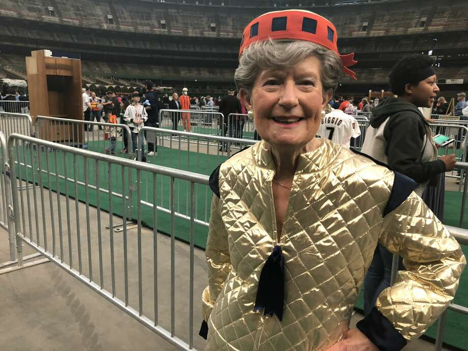 "Barbara Hauser wore a replica of her old ""Spacette"" uniform from when she worked at the Dome in the '60s and early '70s.See more fun Dome fashions from the Domecoming party... Photo: Craig Hlavaty"