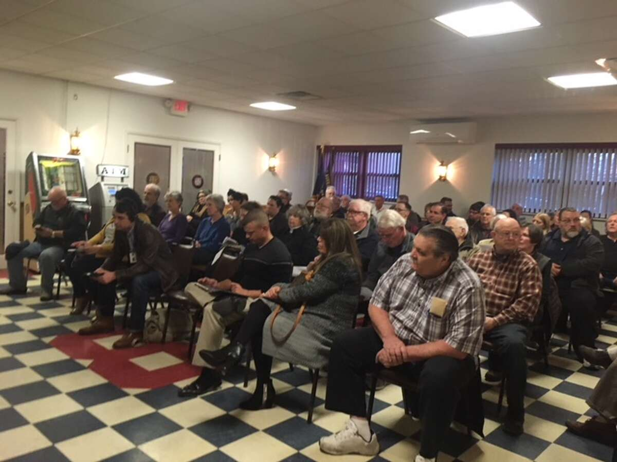 Residents wait to speak at the Ballston Spa Board of Trustees public hearing last April at the VFW. At the time, residents were facing a 25.9 percent increase in taxes. Many blamed Christopher Hickey who retired on Thursday.