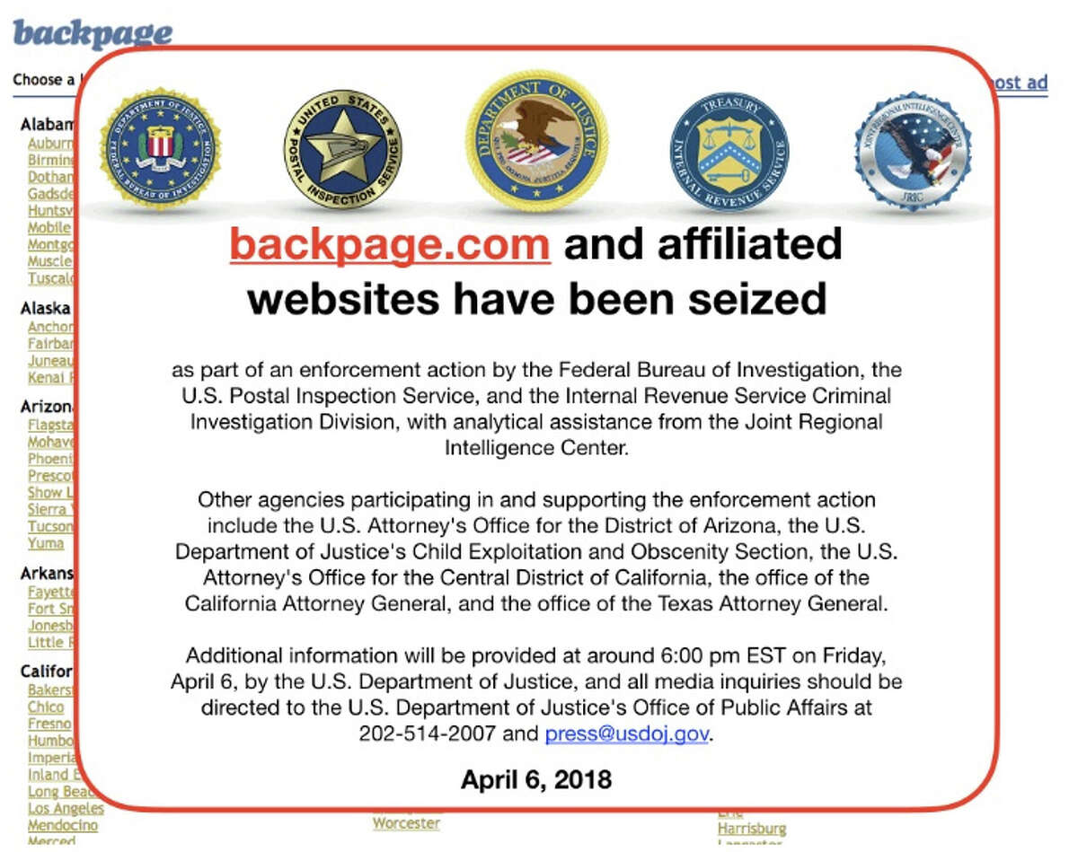 The Backpage.com website, in a screenshot from April 9, now shows an FBI notice.
