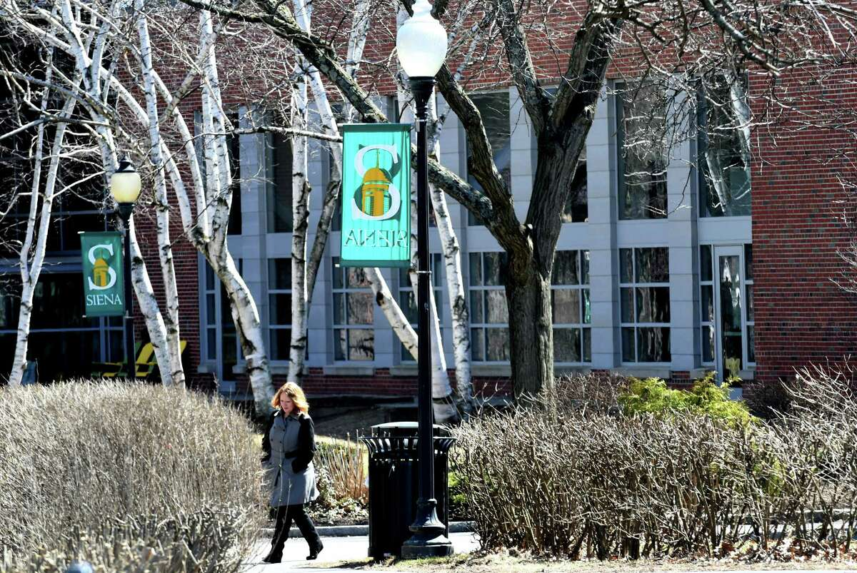 A person is seen walking past the Sarazen Student Union on the Siena College campus on Monday, April 9, 2018, in Colonie N.Y. (Will Waldron/Times Union)