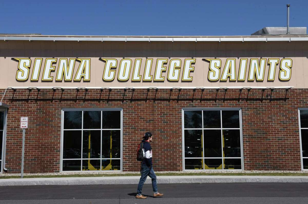 A person walks past the Marcelle Athletic Complex on the Siena College campus on Monday, April 9, 2018, in Colonie N.Y. Siena College men's basketball coach Jimmy Patsos is under investigation by the college for alleged verbal abuse and improprieties. He denied the allegations during a press conference on Friday. (Will Waldron/Times Union)