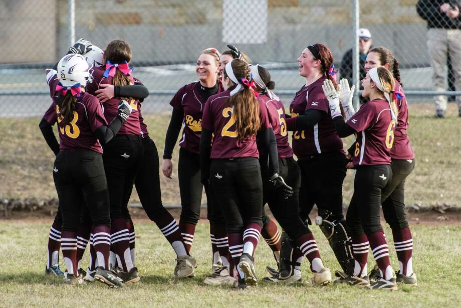 Colonie Central celebrates after a win from behind during the softball game against Ballston Spa at Colonie Monday, April 9th, 2018. Photo By Eric Jenks Photo: Eric Jenks / Eric Jenks 2018