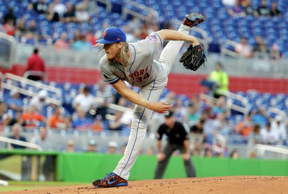 New York Mets starting pitcher Noah Syndergaard follows through on a delivery during the first inning of a baseball game against the Miami Marlins, Monday, April 9, 2018, in Miami. (AP Photo/Lynne Sladky) Photo: Lynne Sladky / Copyright 2018 The Associated Press. All rights reserved.