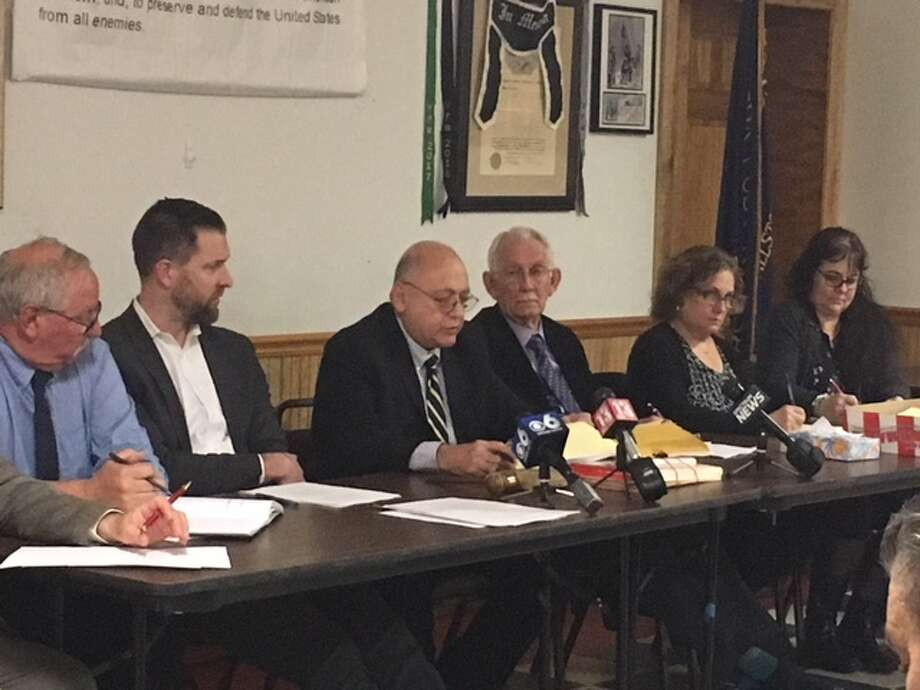 Mayor John Romano speaks during the Ballston Spa Board of Trustees meeting last April that was packed with unhappy residents facing a 25.9 percent increase in taxes.