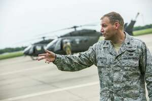 AUSTIN, TX - APRIL 06: Lt. Col. Travis Walters addresses members of the media on April 6, 2018 in Austin, Texas. Brigadier General Tracy Norris announced that the Texas National Guard plans to deploy an expected 250 peronnel to the Texas-Mexico border with supporting aircraft, vehicles and equipment within 72 hours. (Photo by Drew Anthony Smith/Getty Images)