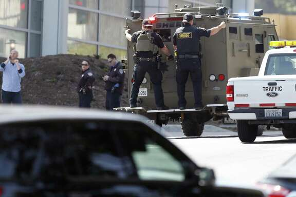 Police respond to active shooter situation at YouTube facility in San Bruno, Calif., on Tuesday, April 3, 2018.
