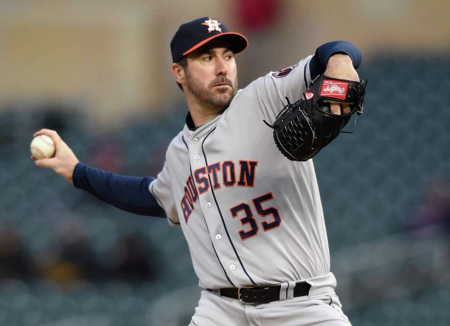 Justin Verlander ignores the cold Monday night in Minneapolis, going seven scoreless innings and throwing 109 pitches against the Twins in a 2-0 win. He allowed four hits, struck out nine and walked one. Photo: Hannah Foslien, Stringer / Getty Images / 2018 Getty Images