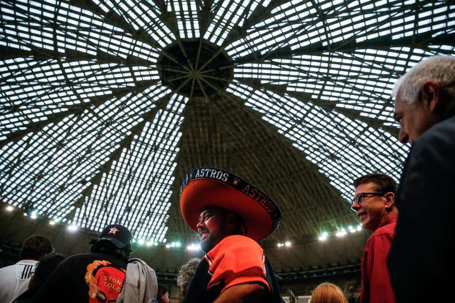 Eduardo Jasso wears his Astros sombrero during Domecoming, an event celebrating the 53rd anniversary of the Astrodome, Monday, April 9, 2018 in Houston. Photo: Michael Ciaglo, Houston Chronicle / Michael Ciaglo