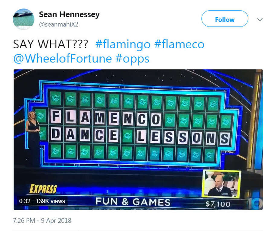 "A wheel of fortune contestant named ""Jonny"" lost $7,100 when he said, ""flamingo dance lessons."" The correct answer was ""flamenco dance lessons."" Image source: TwitterScroll ahead to see Vanna White through the ages.  Photo: Twitter"