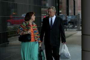 Former U.S. Congressman Steve Stockman and his wife Patti Stockman walk into the Federal Courthouse for jury deliberation on the federal corruption charges against him Tuesday, April 10, 2018, in Houston.