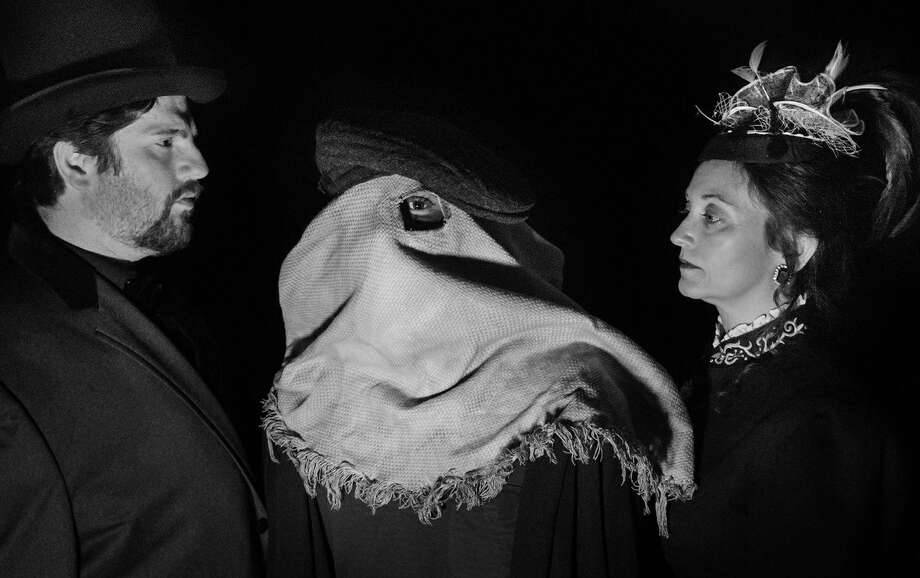 """Brian Heaton as Treves with Caleb Glass as Merrick and Patrice Kentimenos as Mrs. Kendal in Stage Right's production of """"The Elephant Man"""" which opens at The Crighton Theatre on Friday and continues through April 29."""