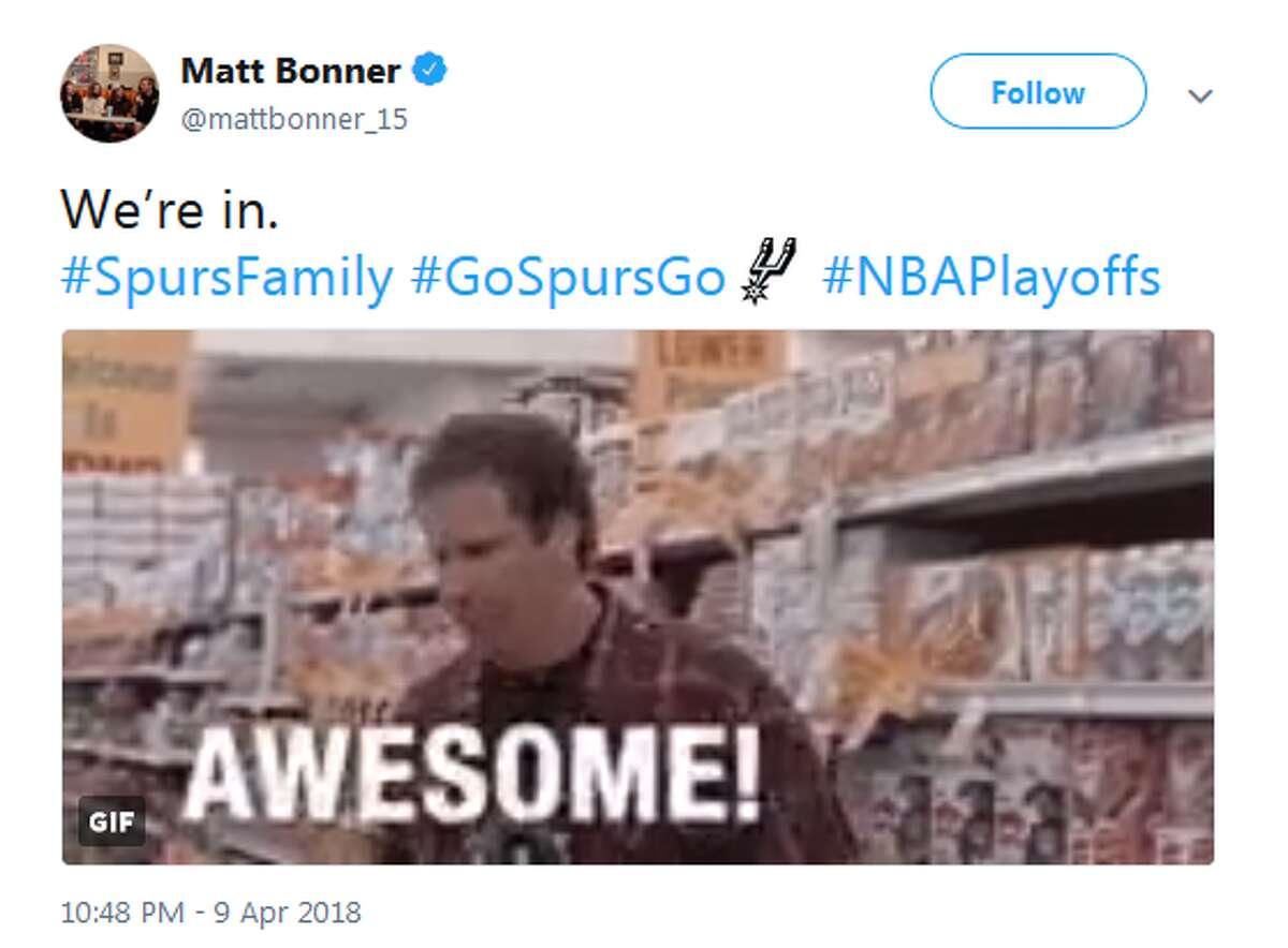 @mattbonner_15: We're in. #SpursFamily #GoSpursGo #NBAPlayoffs