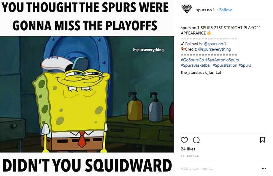 "@spurs.no.1: SPURS 21ST STRAIGHT PLAYOFF APPEARANCE"" Photo: Twitter, Instagram Screengrabs"