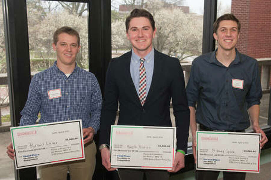 Winners in the 2018 SIUE School of Business' TheOther40 competition Preston Walker, Dylan Mueth and Eli Ball. Photo: For The Telegraph