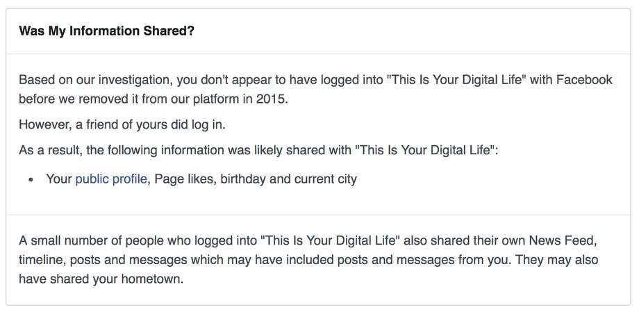 Users whose data was captured by Cambridge Analytica on Facebook will see this notice when visiting a special page set up to inform users about their status. Photo: Chronicle Screenshot / Facebook
