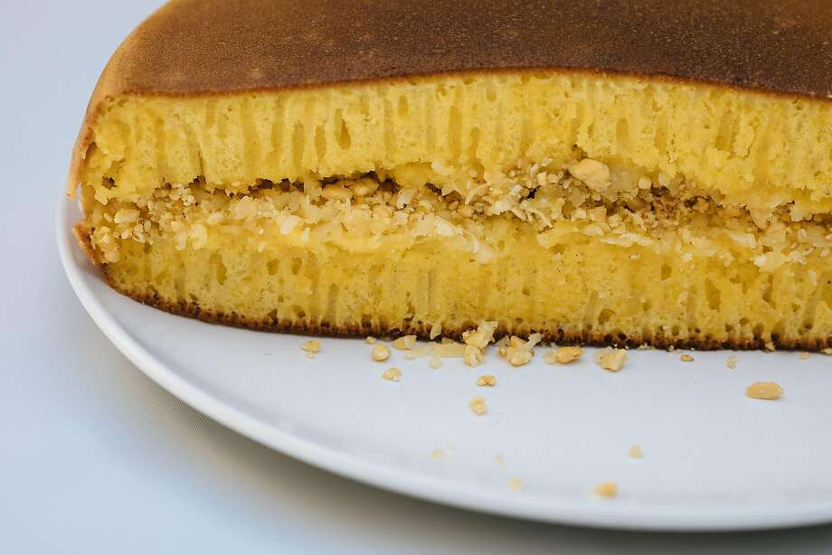 Indo Cafe's martabak with sesame, peanuts, dark chocolate and cheese filling. Photo: Mason Trinca / Special To The Chronicle