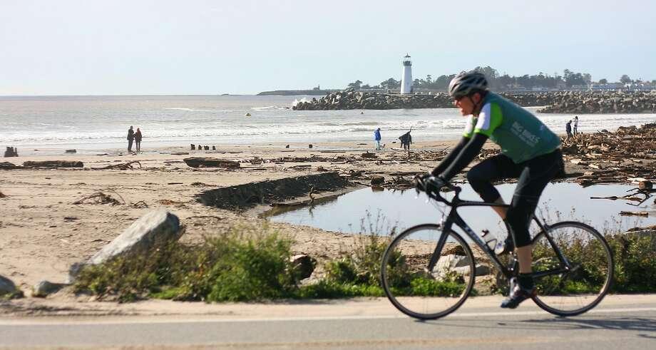 A cyclist rides along East Cliff Drive in Santa Cruz. Photo: Richard Masoner/Cyclelicious