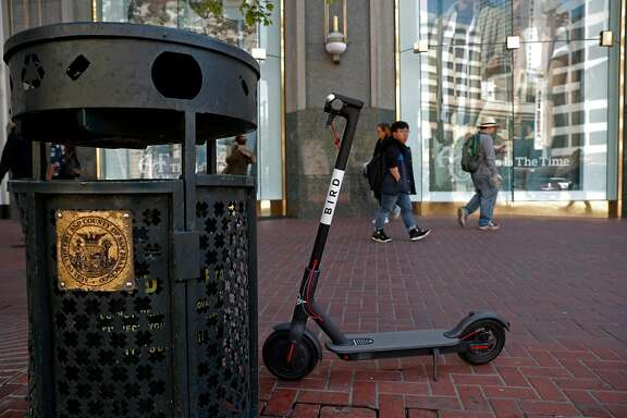 A Bird scooter parked along Market st. as seen on Mon. April 9, 2018, in San Francisco, Calif.