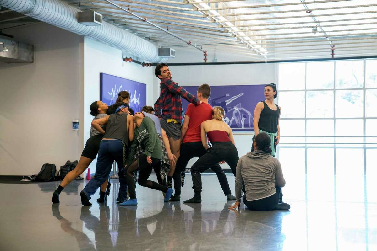 Artists of MetDance rehearse a new work created for them by Dominic Walsh.