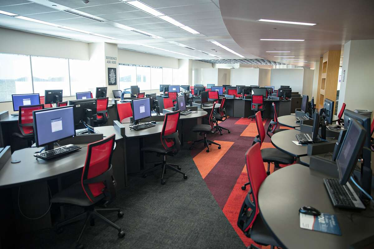 Lone Star College - University Park's library has more than 70 computers that make up its digital stacks for students to browse books and databases.