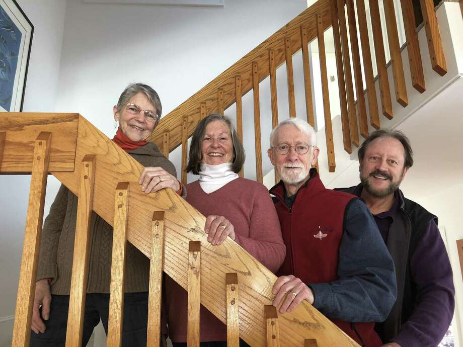 From left, Nancy Wilson, Patty Chamberlain, George Bassett, David Chamberlain of Cahoots, who will perform April 21. Photo: Patty Chamberlain / Contributed Photo