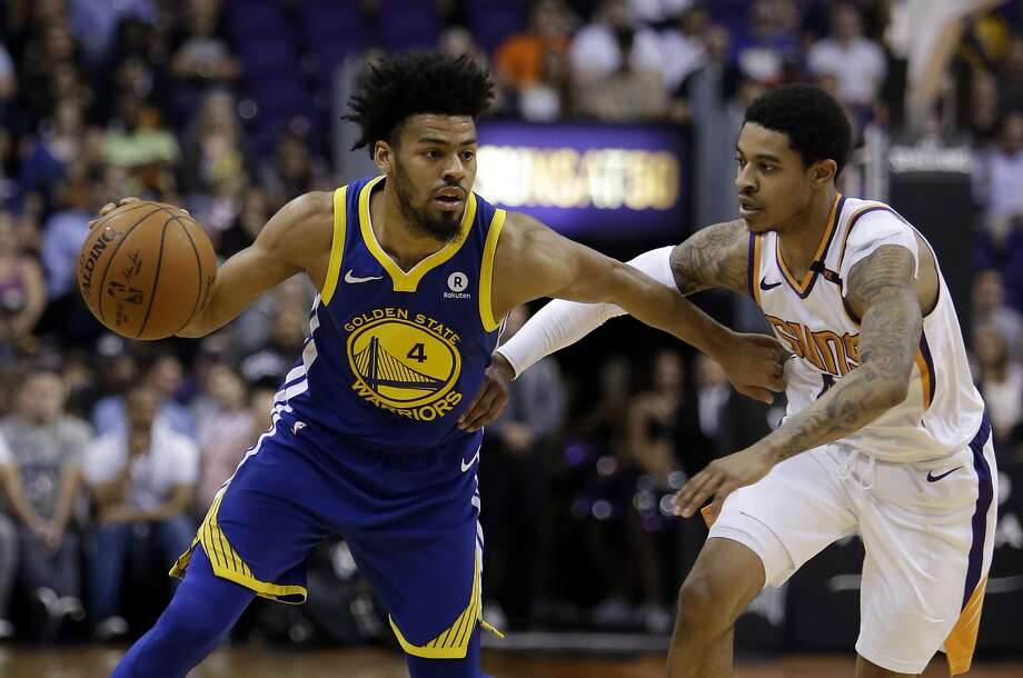 Golden State Warriors guard Quinn Cook (4) in the second half during an NBA basketball game against the Phoenix Suns, Sunday, April 8, 2018, in Phoenix. The Warriors defeated the Suns 117-100. (AP Photo/Rick Scuteri) Photo: Rick Scuteri / Associated Press