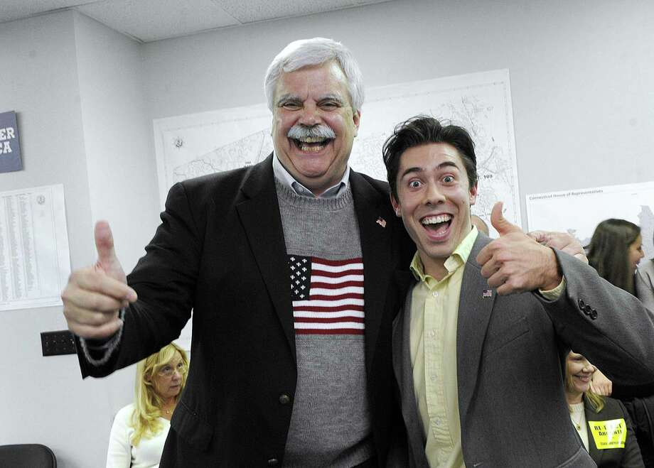 State Reps. Bob Godfrey, left, and David Arconti, celebrate their re-election at Democratic Headquarters on Main Street in Danbury, Tuesday, Nov. 8, 2016. Photo: Carol Kaliff / Hearst Connecticut Media / The News-Times