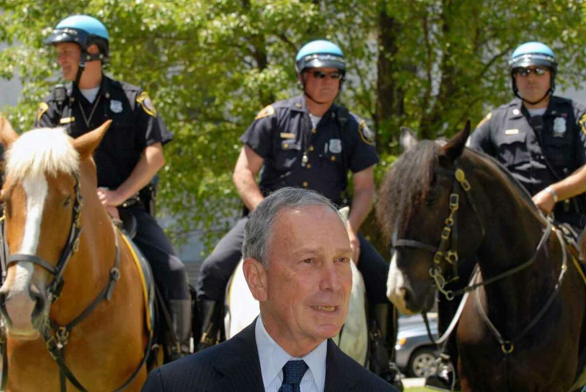 New York City Mayor Michael Bloomberg appears in Albany prior to speaking during a rally against illegal guns, and in favor or microstamping legislation on the west steps of the Capitol in Albany.( Michael P. Farrell / Times Union )