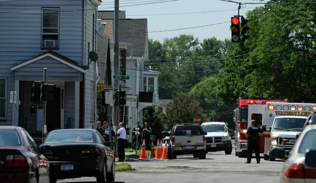 Emergency vehicles line intersection of 19th Street and 9th Avenue in Watervliet after a standoff at 820 19th Street Tuesday. (Skip Dickstein/Times Union)