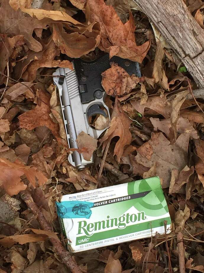 A loaded .25 caliber semiautomatic pistol found in a wooded area off Myano Court on Stamford's West Side on Monday morning. Photo: Stamford Police / Contributed