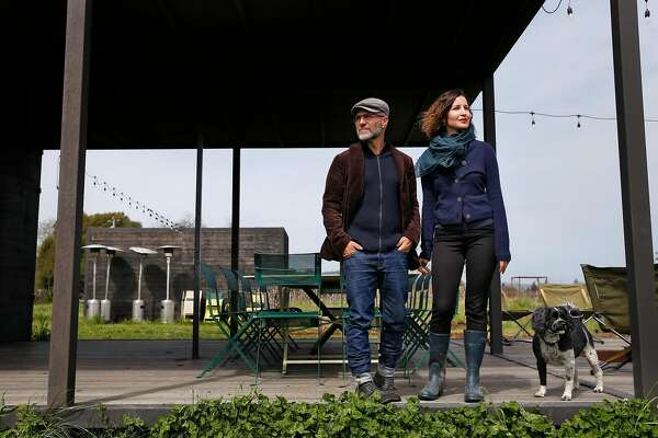 Chris and Aria Adjani are building Noci Sonoma a private membership farm in Healdsburg, Calif., on Wednesday, April 4, 2018. They have a massive area which includes multiple buildings, a swimming pond, 900 fruit trees and a thousand tomatoes.