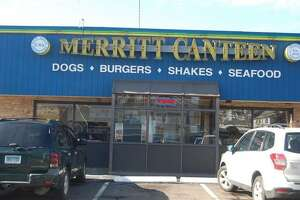 "Exterior of the Merritt Canteen in Bridgeport. The vintage eatery began as a roadside ""shack"" in 1942 near the Merritt Parkway, hence its name."
