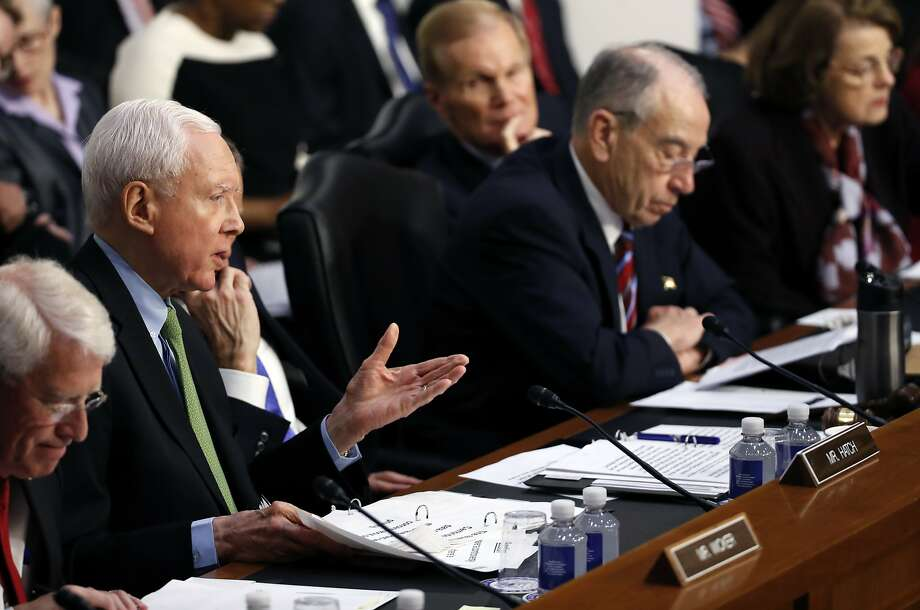 Sen. Orrin Hatch, R-Utah, second from left questions Facebook CEO Mark Zuckerberg during a joint hearing of the Commerce and Judiciary Committees on Capitol Hill in Washington, Tuesday, April 10, 2018, about the use of Facebook data to target American voters in the 2016 election. (AP Photo, Alex Brandon) Photo: Alex Brandon, Associated Press