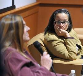 """(Peter Casolino-New Haven Register)    Panelists Dr. Dorothy Stubbe, left, and Kathy Flaherty field questions as mental health professionals and law experts participate in a symposium at Quinnipiac University to discuss gun violence. The morning panel was titled: """"An Act Concerning Gun Violence Prevention and Children's Safety. Stubbe is the Program Director of the Child and Adolescent Psychiatry at the Yale Child Study Center, and Flaherty is the Senior Staff Attorney at Statewide Legal Services of CT. The event was presented by the Quinnipiac University Law School's Health Journal.   pcasolino@NewHavenRegister"""