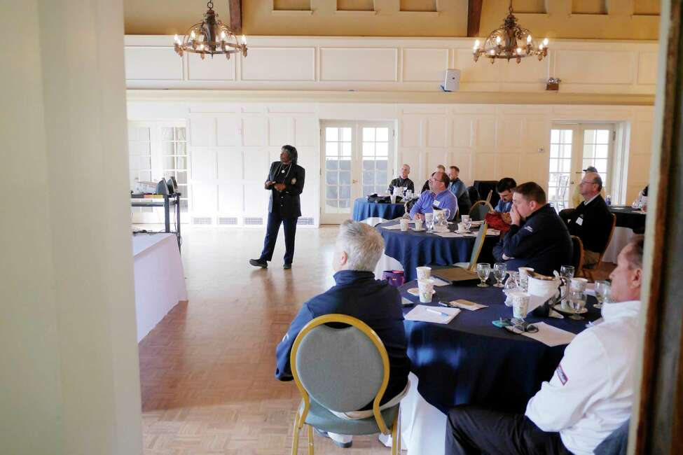 LPGA/PGA Pro Renee Powell talks to area PGA teaching professionals during an event at the Mohawk Country Club on Tuesday, April 10, 2018, in Schenectady, N.Y. Powell was the second African-American woman ever to play on the LPGA Tour. (Paul Buckowski/Times Union)