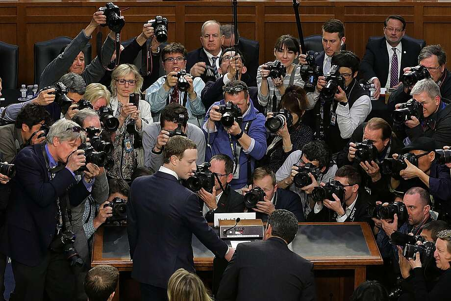 Facebook CEO Mark Zuckerberg arrives amid a media swarm to testify before congressional committees. Photo: Chip Somodevilla / Getty Images