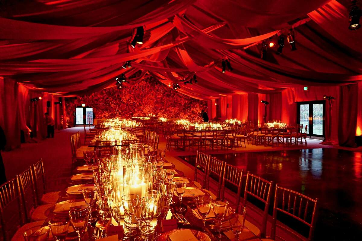 Interior of the Cartier designed tent at the de Young for the Mid-Winter Gala. April 6, 2018.