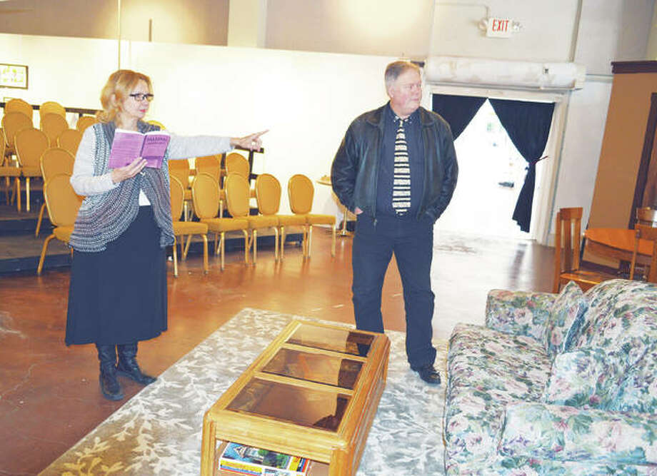 """The director of """"Falling,"""" Sue Ellen Coughtry, discusses a scene on set with Geoff Callaway, who plays Bill Martin in the play. This season's tiered seating provides a clear view for all audience members. Photo:     Vicki Bennington For The Telegraph"""