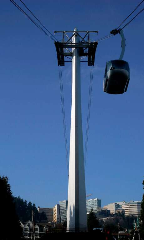 The $57 million Aerial Tram in Portland, Ore,, shown Dec. 28, 2006, takes riders to the Oregon Health & Science University's main campus on Marquam Hill.  Photo: Kevin Clark / AP