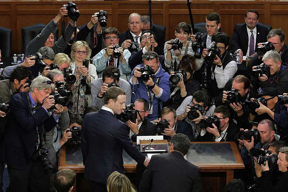 Facebook co-founder, Chairman and CEO Mark Zuckerberg arrives to testify before a combined Senate Judiciary and Commerce committee hearing in the Hart Senate Office Building on Capitol Hill April 10, 2018 in Washington, DC. Zuckerberg, 33, was called to testify after it was reported that 87 million Facebook users had their personal information harvested by Cambridge Analytica, a British political consulting firm linked to the Trump campaign. Photo: Chip Somodevilla /Getty Images / 2018 Getty Images