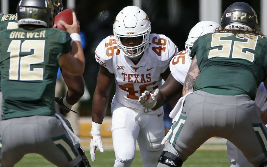 WACO, TX - OCTOBER 28: Malik Jefferson #46 of the Texas Longhorns lines up against the Baylor Bears in the second half at McLane Stadium on October 28, 2017 in Waco, Texas. Texas won 38-7. (Photo by Ron Jenkins/Getty Images) Photo: Ron Jenkins/Getty Images