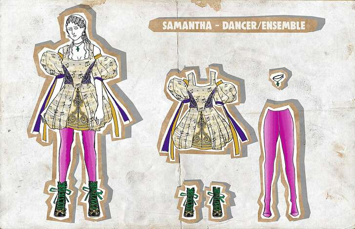 """Arianne Phillips costume designs for the new musical """"Head-Over-Heels"""" featuring the music of the Go-Gos."""