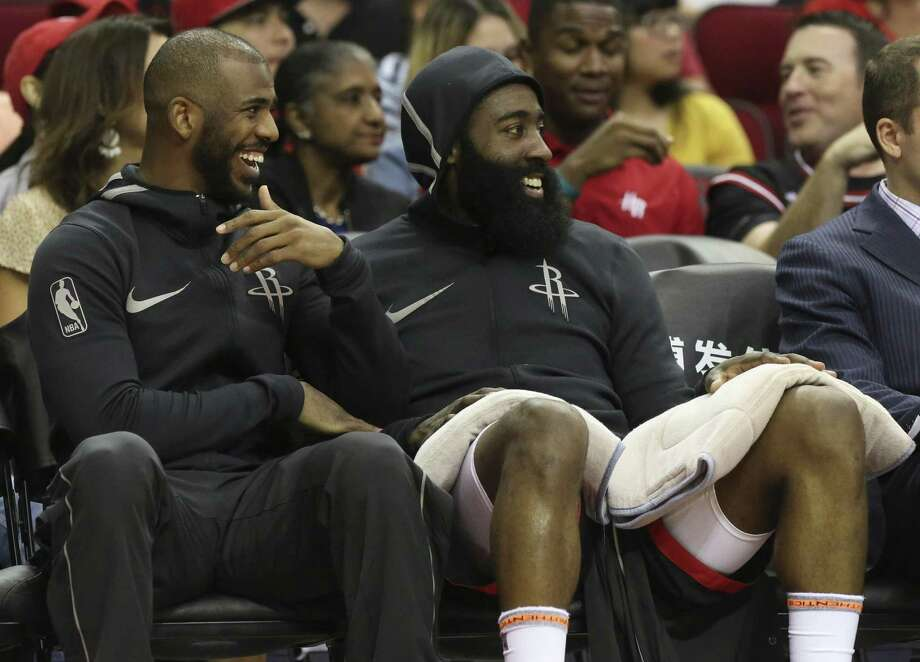 PHOTOS: Chris Paul's celebrity bowling night in Houston Houston Rockets players Chris Paul (3) and James Harden (13) share a laugh during the fourth quarter of the NBA game against the New Orleans Pelicans at Toyota Center on Saturday, March 24, 2018, in Houston. The Houston Rockets defeated the New Orleans Pelicans 114-91. ( Yi-Chin Lee / Houston Chronicle ) Photo: Yi-Chin Lee / Houston Chronicle / © 2018 Houston Chronicle