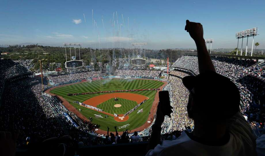 Opening Day ceremony as the Dodgers play San Francisco Giants at Dodger Stadium in Los Angeles, Calif., on March 29, 2018. Photo: Allen J. Schaben, TNS / Los Angeles Times